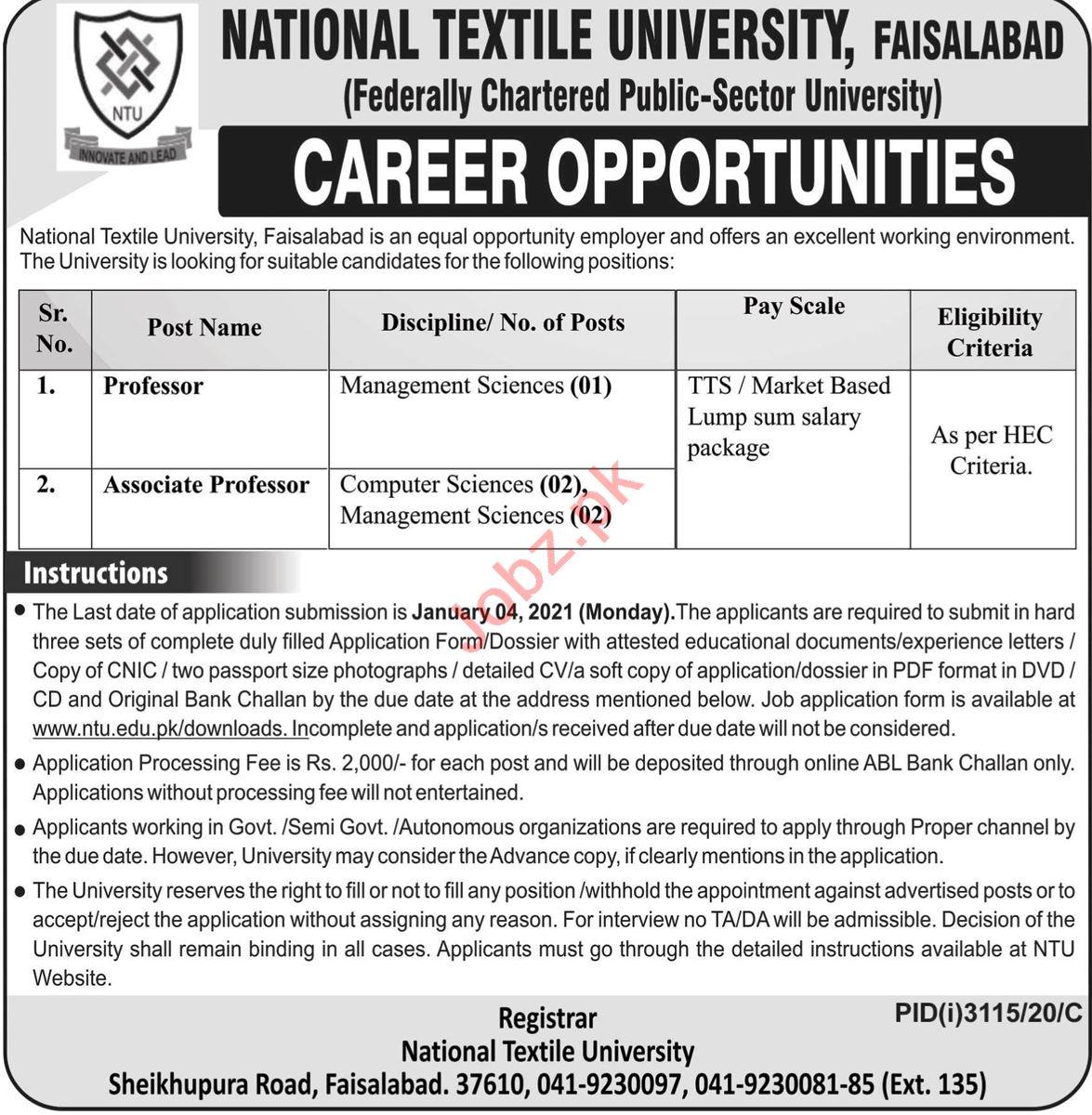 National Textile University NTU Faisalabad Jobs 2021
