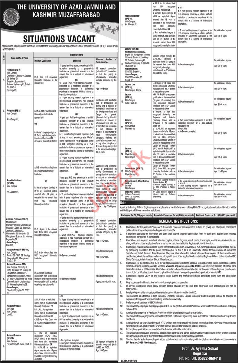 University of Azad Jammu & Kashmir UAJ&K Jobs 2021