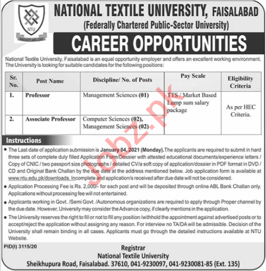 National Textile University NTU Faisalabad Faculty Jobs 2021
