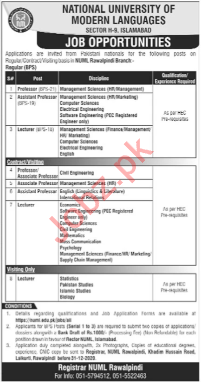 NUML University Rawalpindi Jobs 2021 Professors & Lecturers