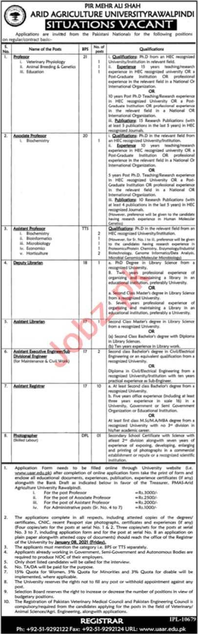 PMAS Arid Agriculture University Rawalpindi Jobs 2021