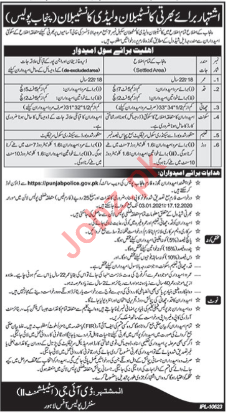 Punjab Police Jobs 2021 for Constable & Lady Constable