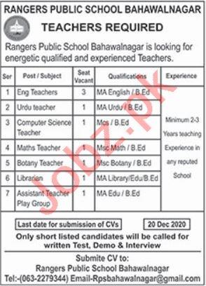 Teachers Jobs 2020 in Rangers Public School Bahawalnagar