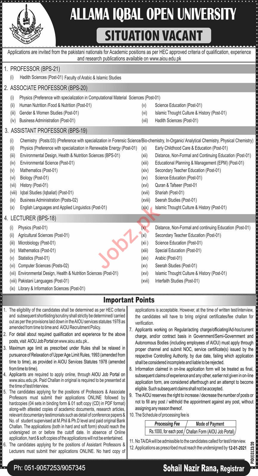 AIOU University Islamabad Jobs 2021 for Professor & Lecturer