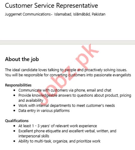 Juggernet Communications Islamabad Jobs 2020 for CSR