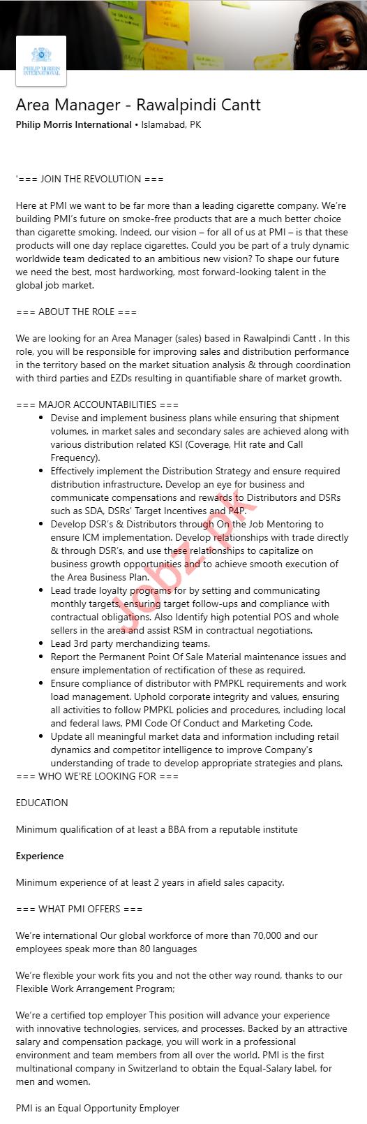 Philip Morris International Rawalpindi Cantt Jobs 2020
