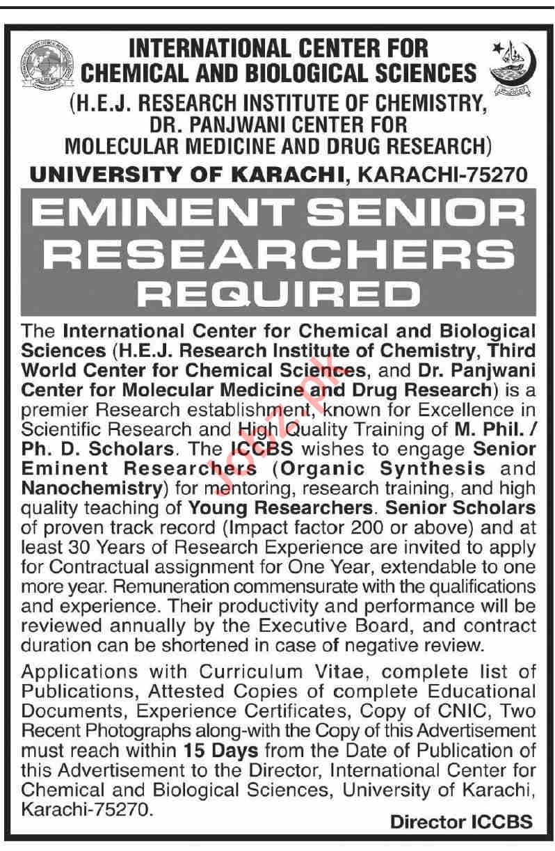 HEJ Research Institute of Chemistry ICCBS Jobs 2021