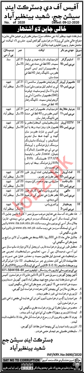 District & Session Court Nawabshah Jobs 2021 Clerk & Mali