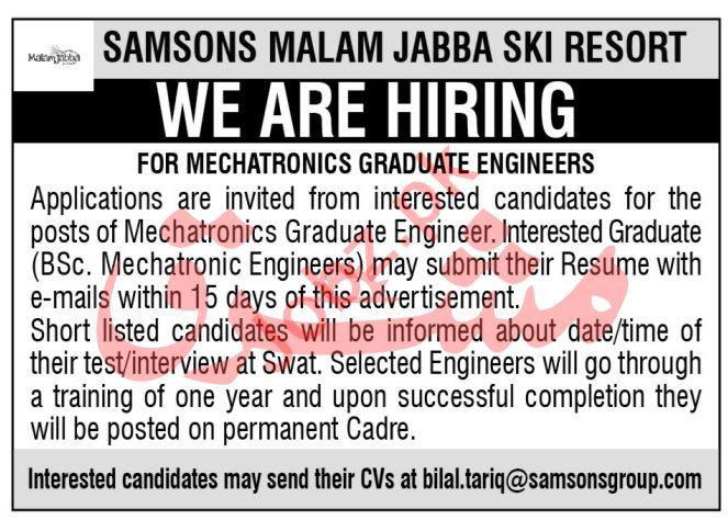 Samsons Malam Jabba Ski Resort Jobs 2020 for Engineers