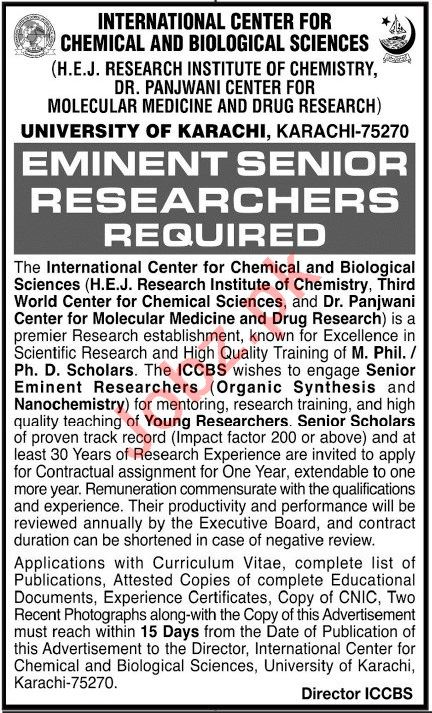 HEJ Research Institute of Chemistry Jobs 2021 for Researcher