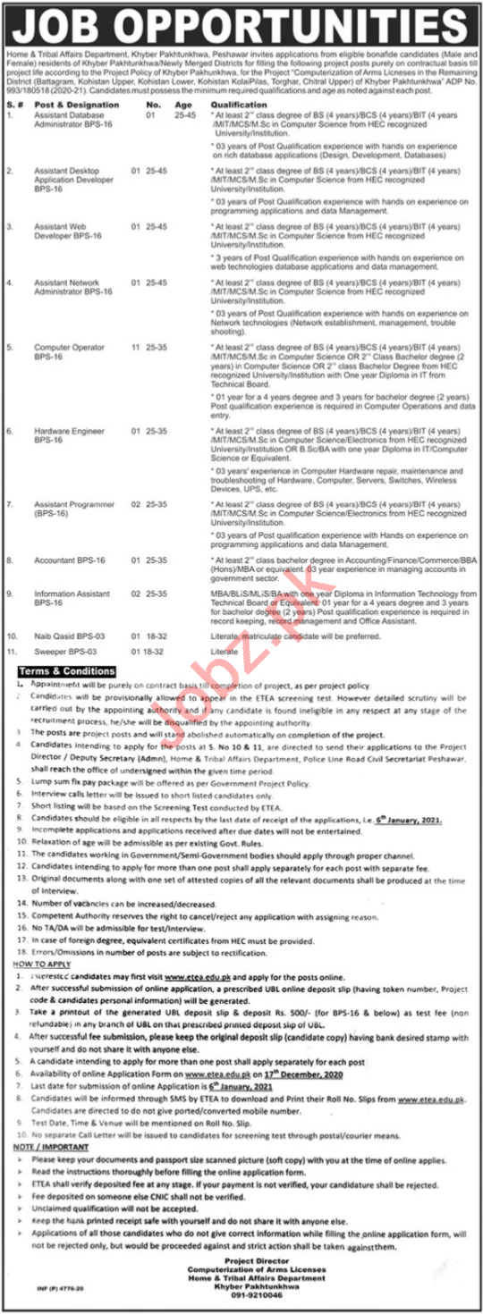 Home & Tribal Affairs Department Jobs 2021 for Web Developer