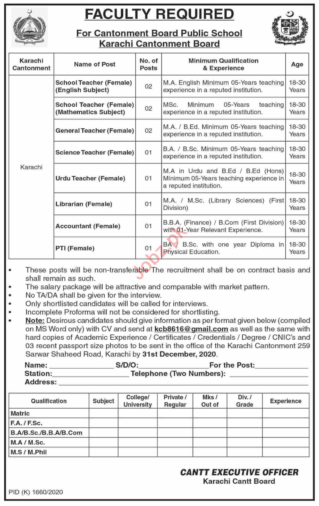 Cantonment Board Public School KCB Karachi Jobs 2020