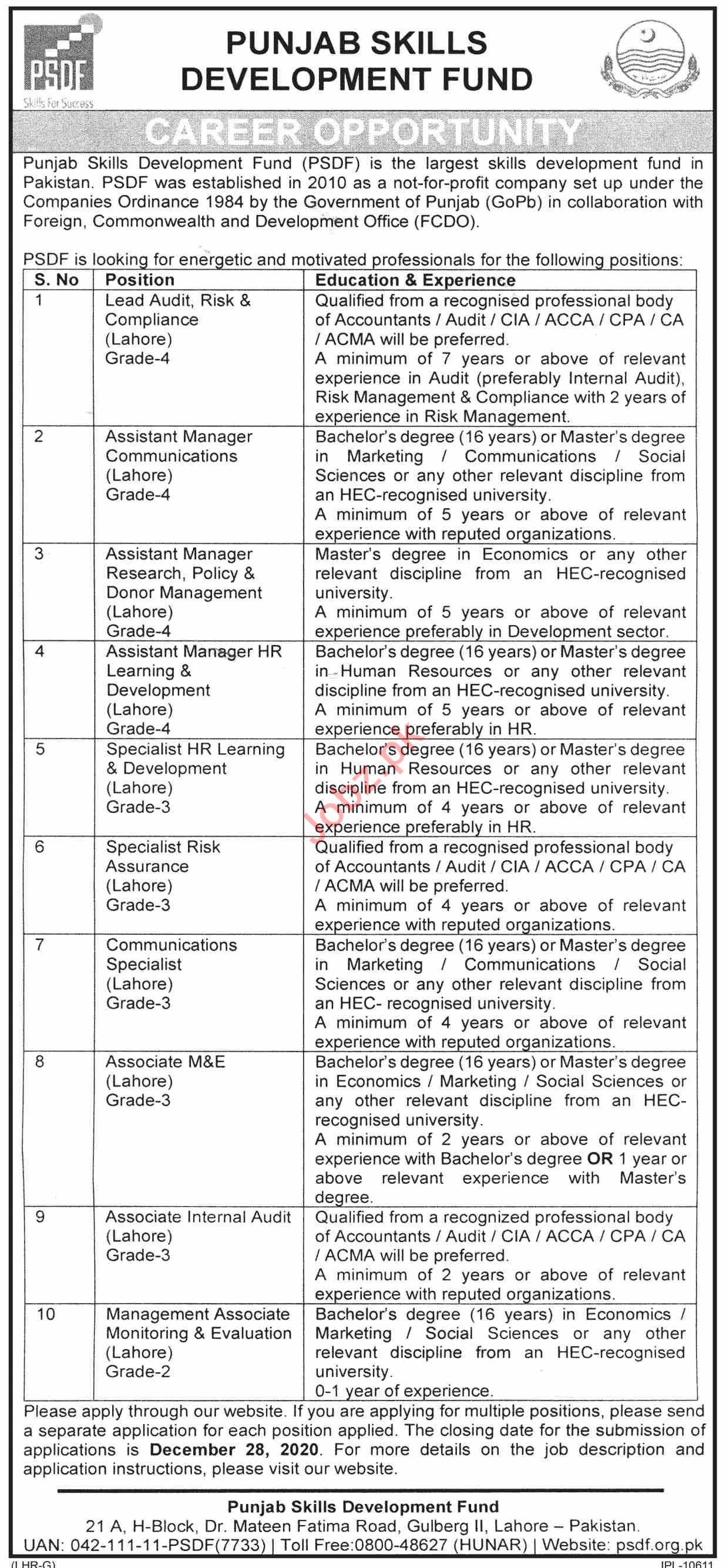PSDF Foreign Commonwealth & Development Punjab Jobs 2021