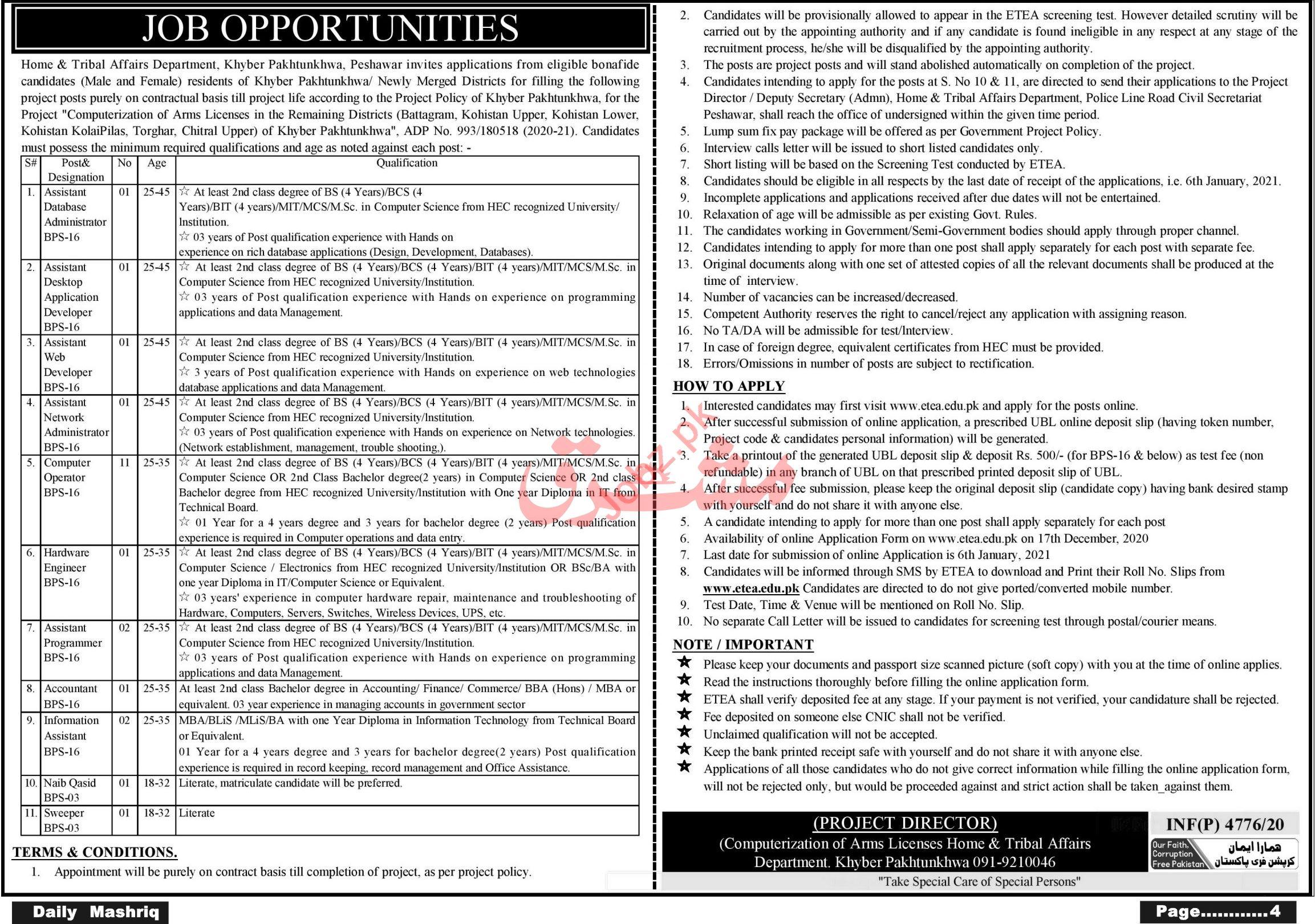 Home & Tribal Affairs Department Peshawar Jobs 2021