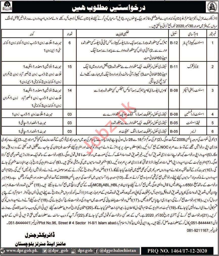 Mines & Mineral Development Department Quetta Jobs 2021