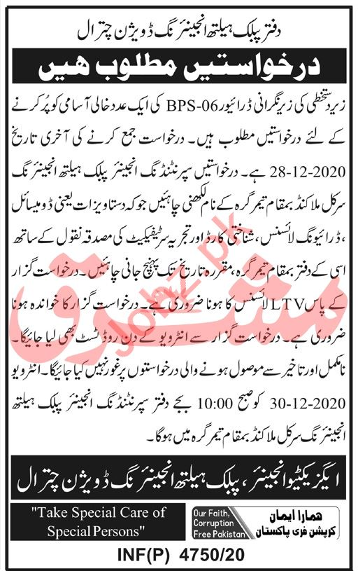 Public Health Engineering Division PHED Chitral Jobs 2020