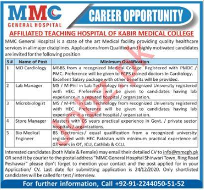 MMC General Hospital Peshawar Jobs 2020 for MO Cardiology