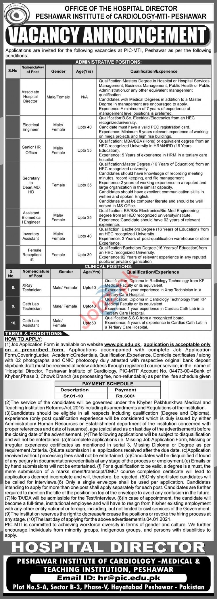 PIC MTI Peshawar Jobs 2020 for Engineer & Hospital Director