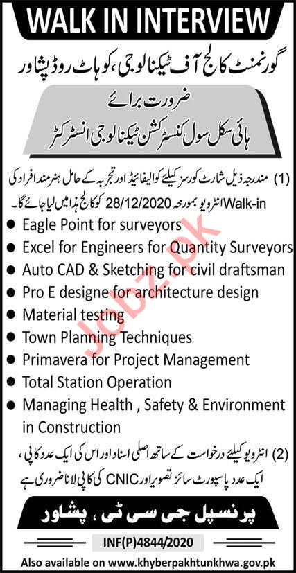Government College of Technology GCT Peshawar Jobs 2021