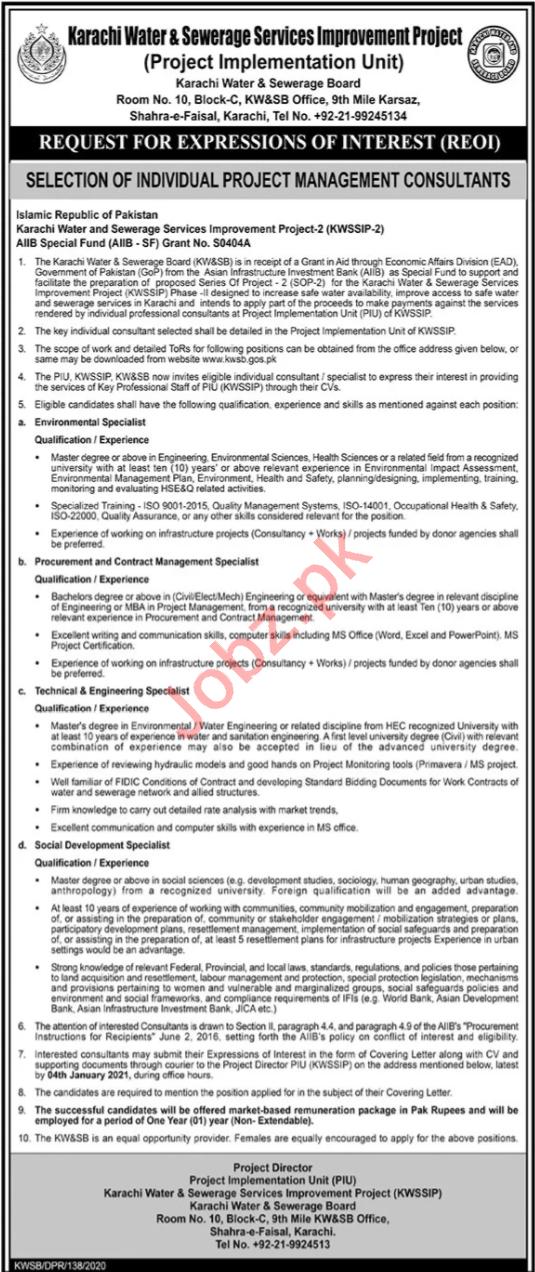 Karachi Water & Sewerage Board KWSB Jobs for Consultants
