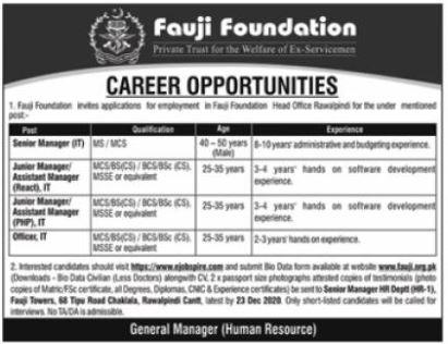 Fauji Foundation Private Trust Jobs 2021