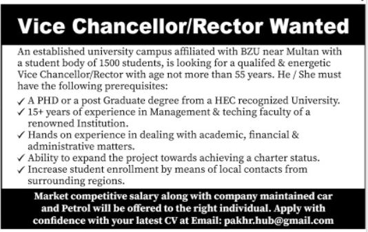 Bahauddin Zakariya University Multan Jobs 2020