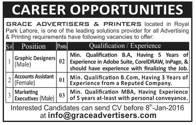 Grace Advertisers & Printers Jobs 2021 in Lahore