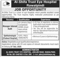 Al Shifa Trust Eye Hospital Jobs in Rawalpindi & Chakwal