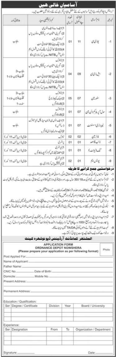 Pakistan Army Ordnance Depot Nowshera KPK Jobs 2021