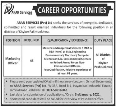 The Arar Services Jobs 2021 For Marketing Officer