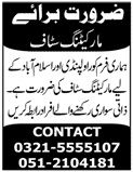 Marketing Staff Jobs 2200 in Rawalpindi & Islamabad