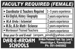 Dar e Arqam Schools Faculty Jobs 2020 in Rawalpindi