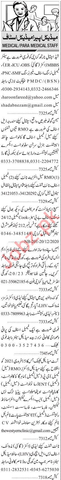 Jang Sunday Classified Ads 20 Dec 2020 Medical & Paramedical
