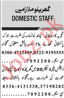 Jang Sunday Classified Ads 20 Dec 2020 for Domestic Staff
