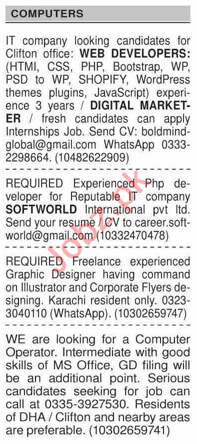 Dawn Sunday Classified Ads 20 Dec 2020 for Computer Staff