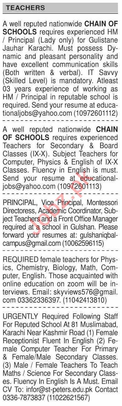 Dawn Sunday Classified Ads 20 Dec 2020 for Teaching Staff