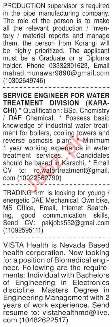 Dawn Sunday Classified Ads 20 Dec 2020 for Engineering