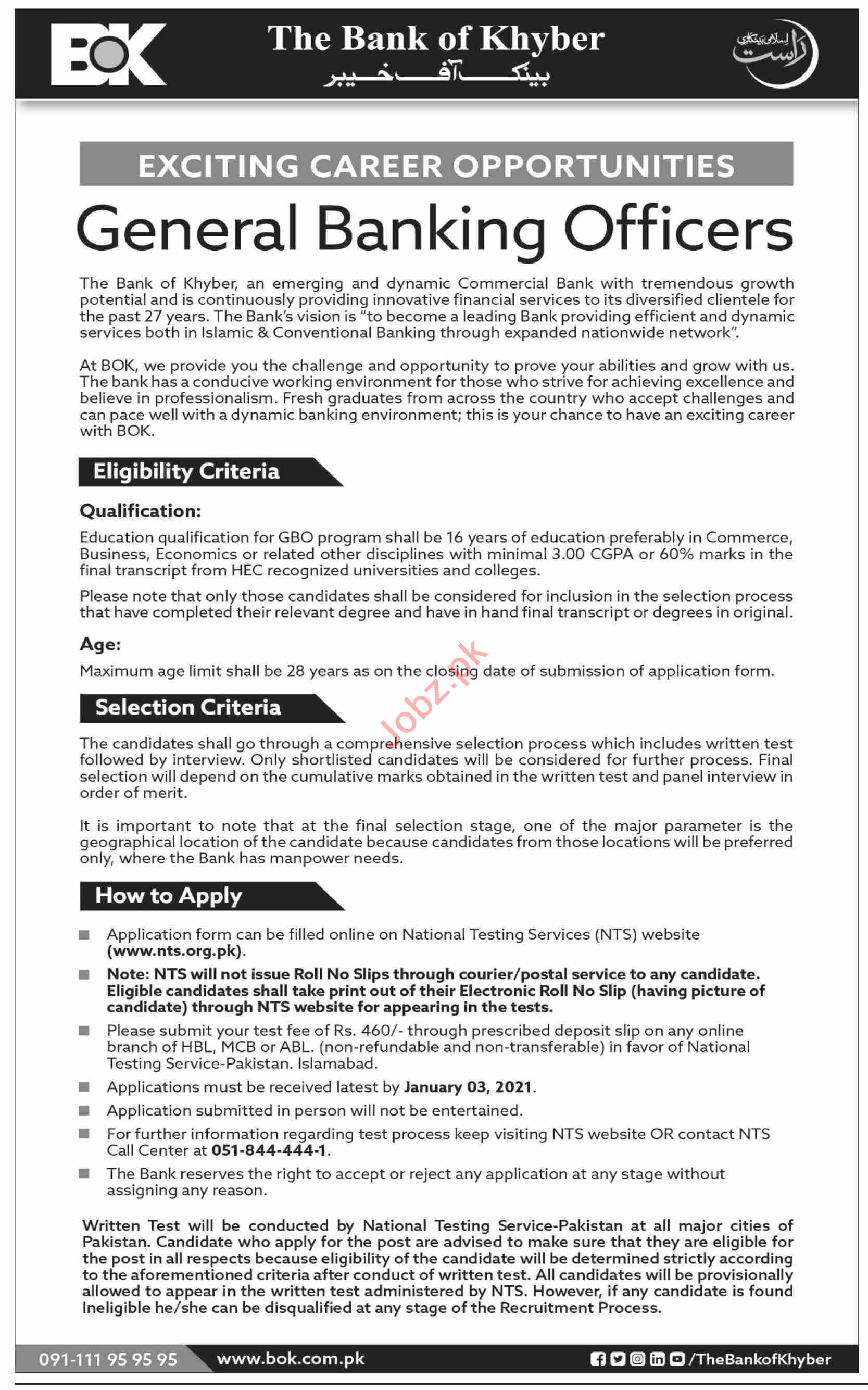 The Bank of Khyber BOK Jobs 2021 General Banking Officers