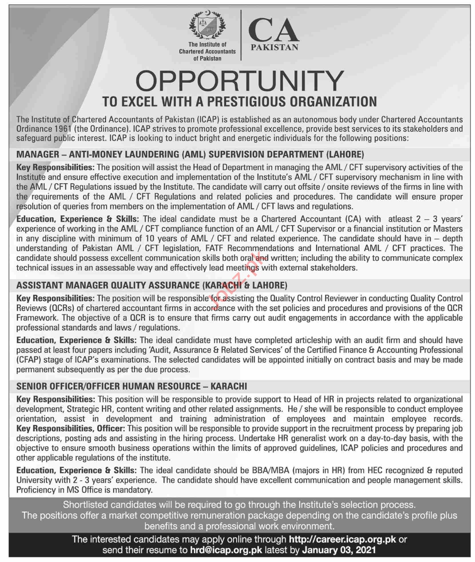Institute of Chartered Accountants of Pakistan Jobs 2021