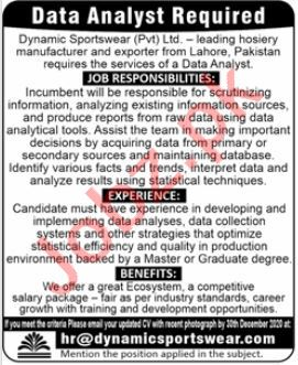 Dynamic Sportswear Lahore Jobs 2020 for Data Analyst