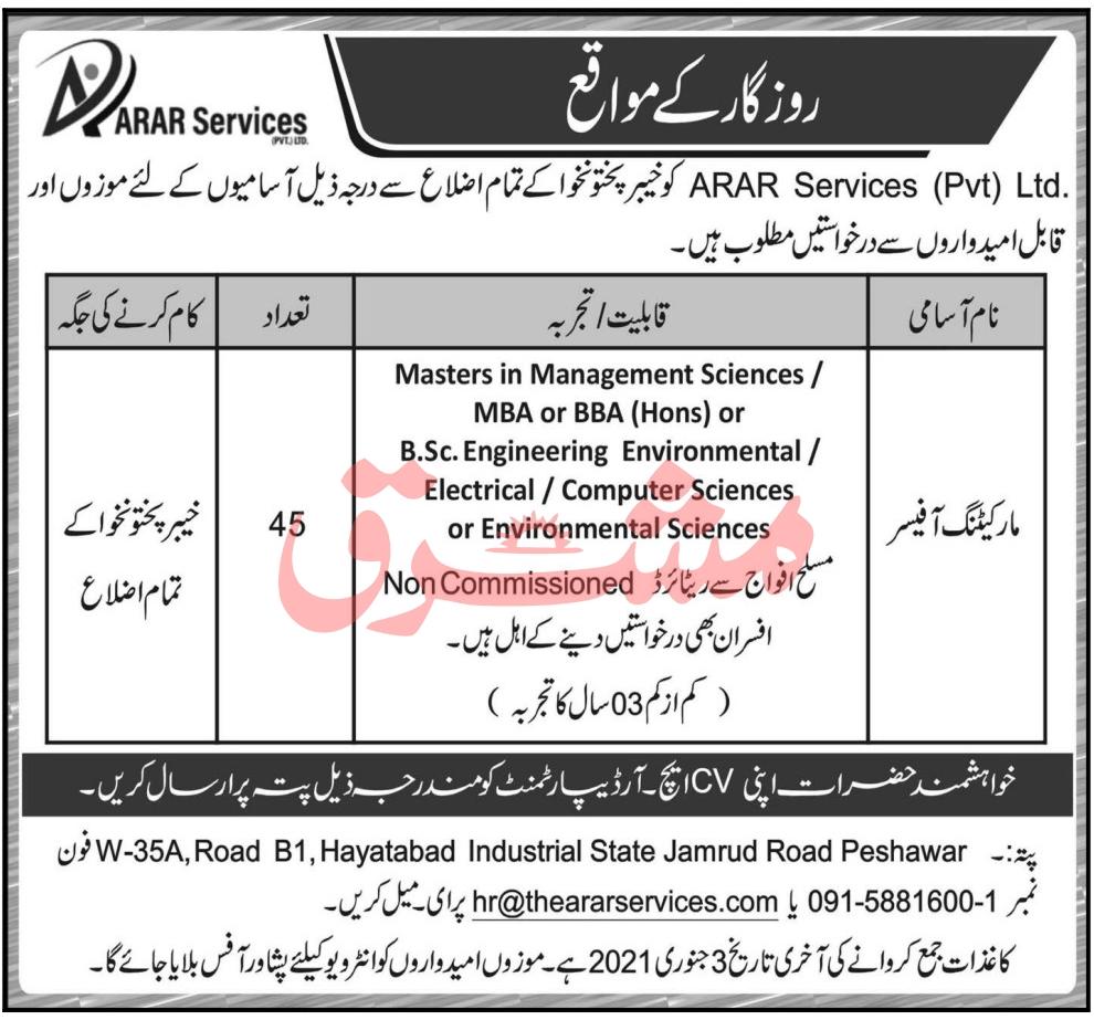 Marketing Officers Jobs 2021 in Peshawar KPK