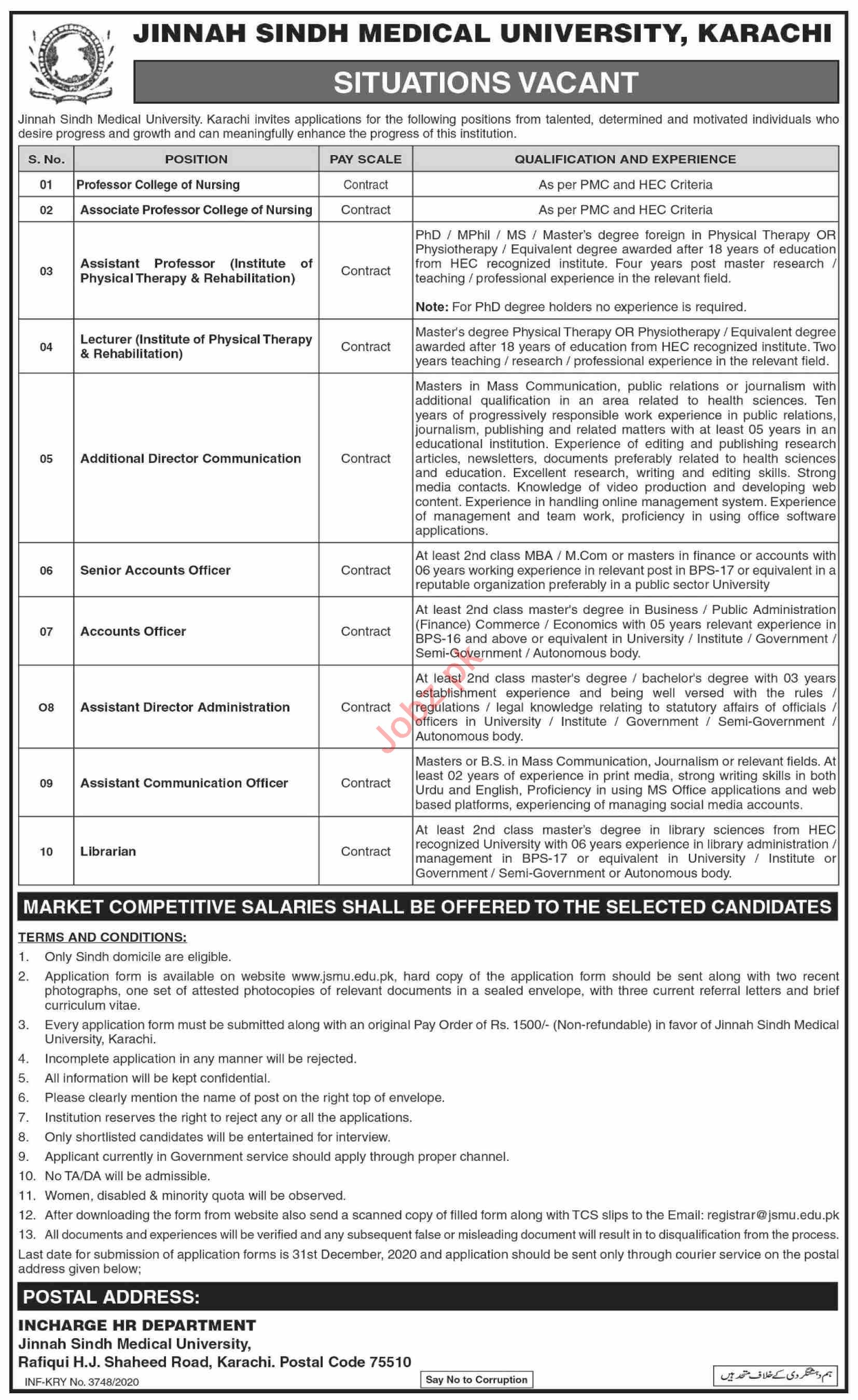 Jinnah Sindh Medical University JSMU Karachi Jobs 2021
