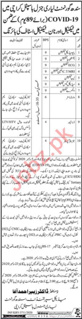 Lyari General Hospital Karachi Jobs 2021 for Technicians