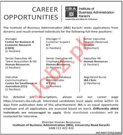 IBA Institute Karachi Jobs 2020 for Manager & Executive