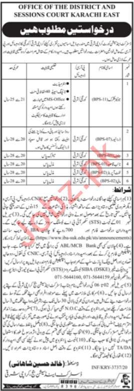 District & Session Court Karachi East Jobs 2021 for Bailiff