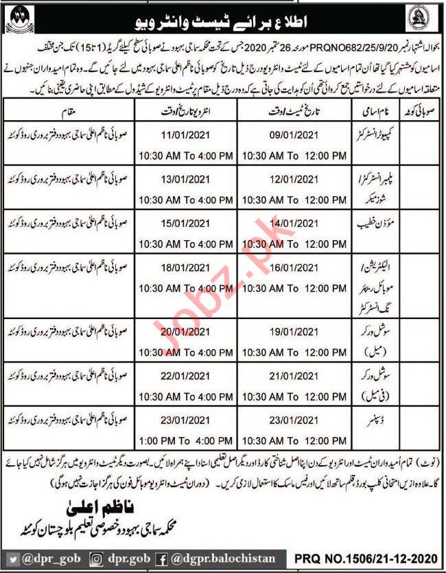 Social Welfare & Special Education Quetta Jobs 2021