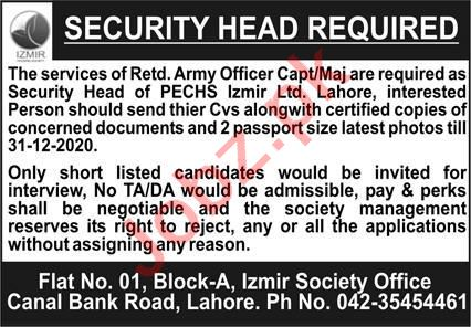 PECHS Izmir Lahore Jobs 2021 for Security Head