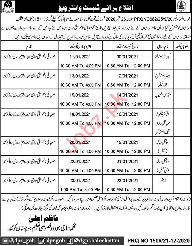 Social Welfare & Special Education Department Quetta Jobs
