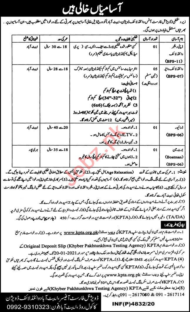 Abbottabad Wildlife Division Jobs 2021 for Wildlife Watcher