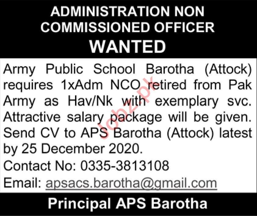 Army Public School APS Barotha Attock Jobs 2021